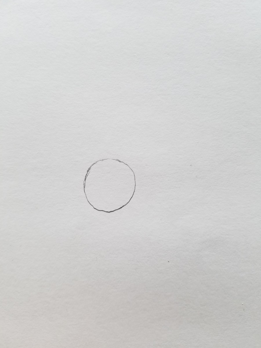 To  get started drawing your Bootleg Bart Simpson begin with the eye. Draw a circle. This simple circle is a great way to gauge the size of your bootleg Bart or just to create a skeleton of points.