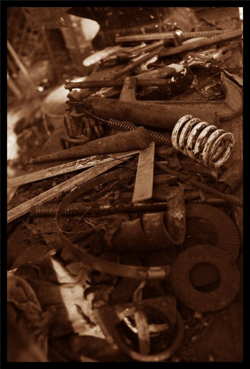 """""""Blacksmith."""" My husband is a blacksmith and his bench of tools never fails to fascinate me."""