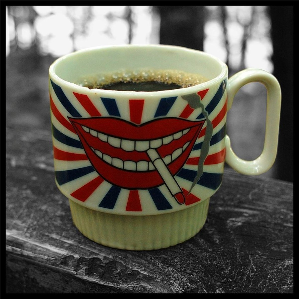 """""""Coffee Talk."""" Everyday objects can be a great focal point. For example, I love coffee, I collect coffee cups, and I love the bizarre and humorous. Just in case my favorite cup breaks, I have a great memory."""