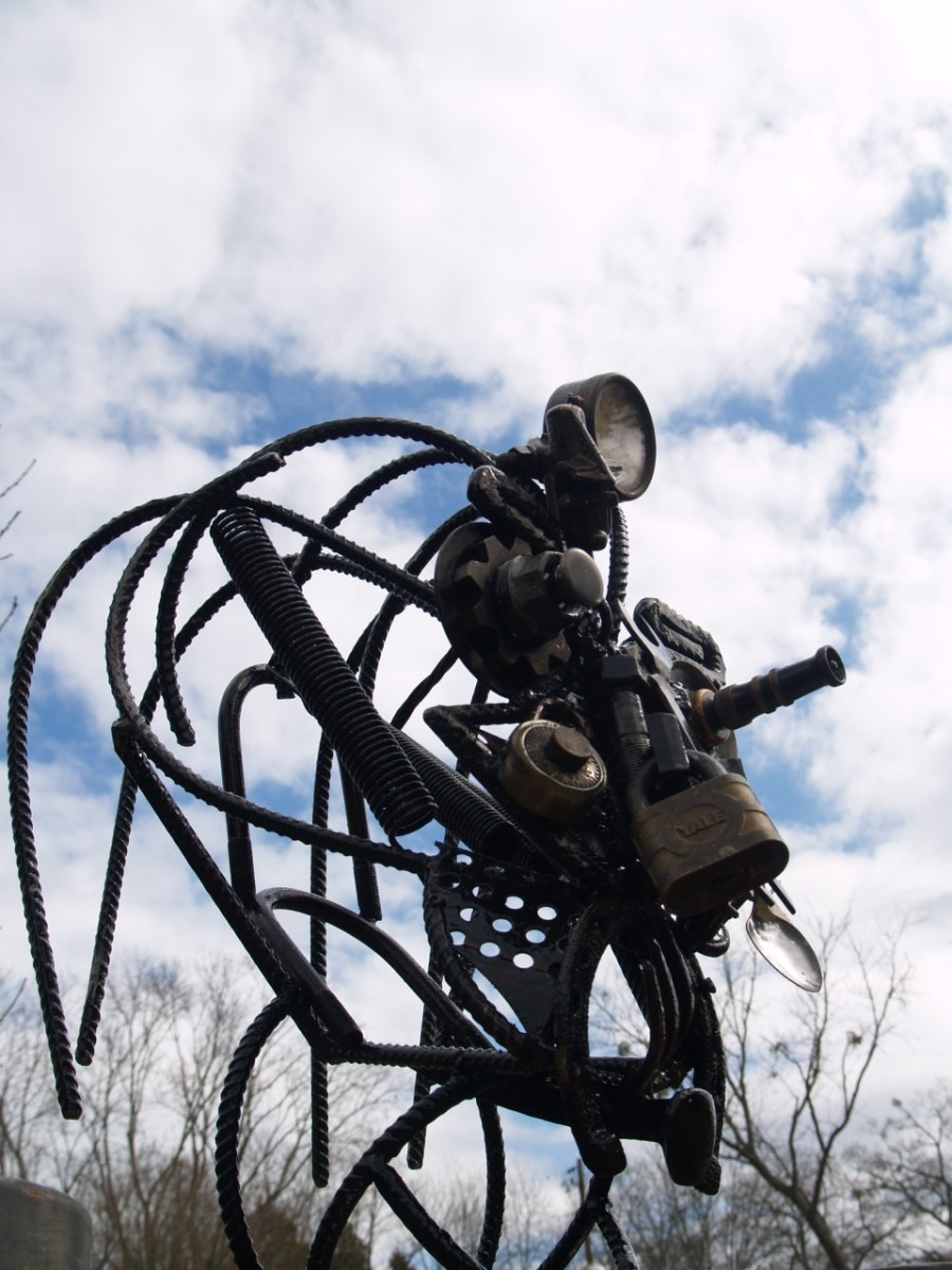 Functional and beautiful yard art is one of many artistic applications of welding skills.