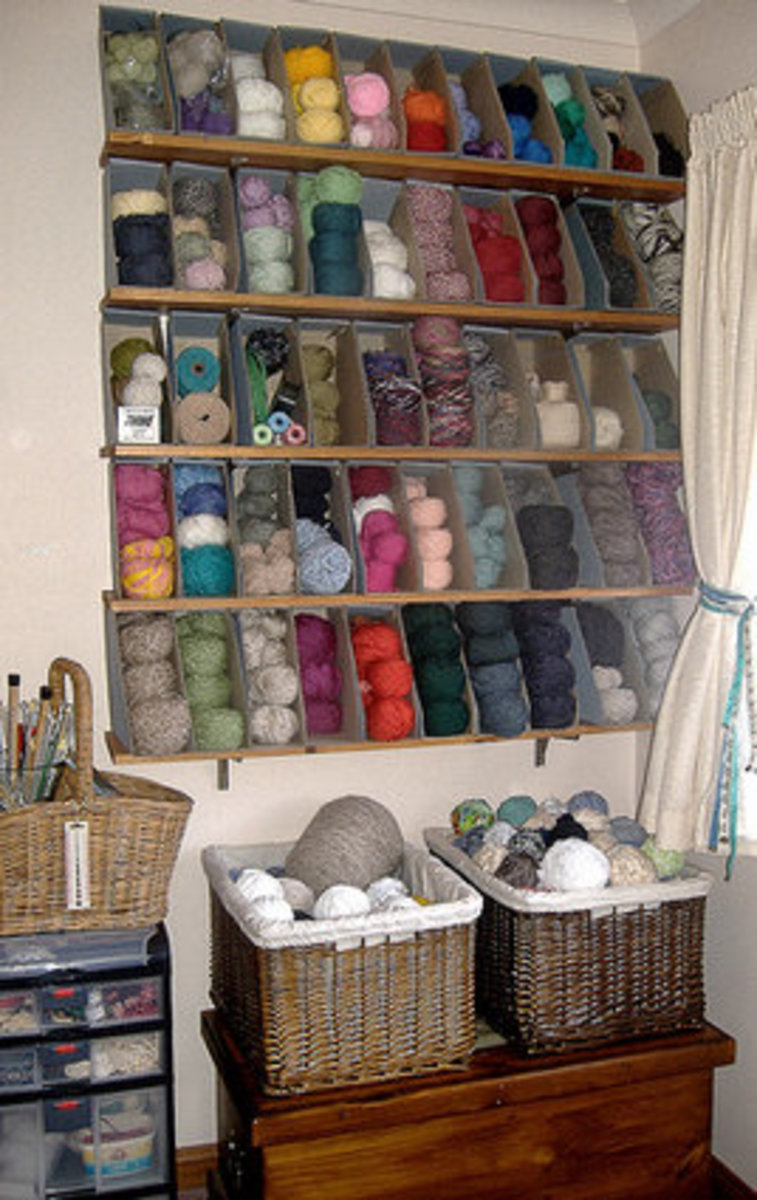 Yarn storage boxes.  This is a very space efficient system.