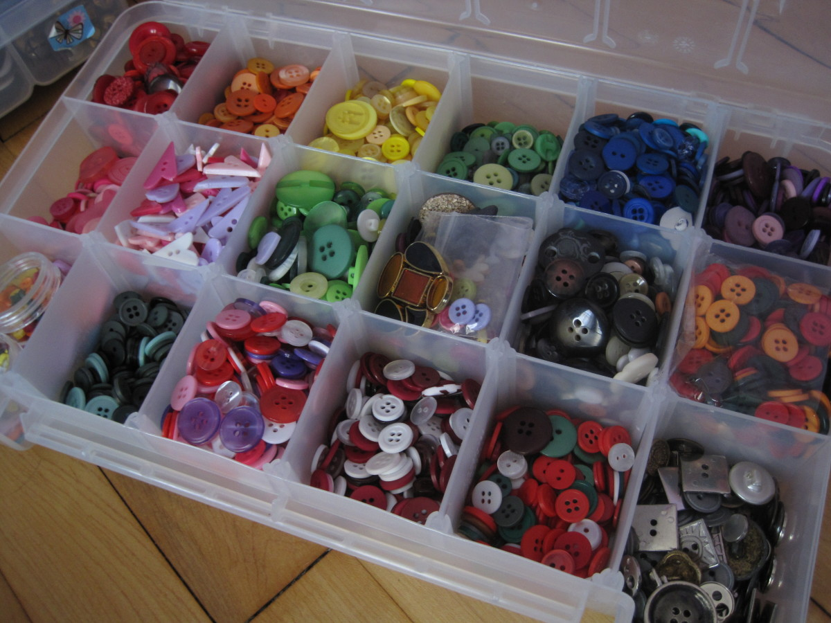 Here is a closer look at one of my button boxes.  Yep, this organization takes a long time, but it is well worth the effort because of all the time it will save you in the future.