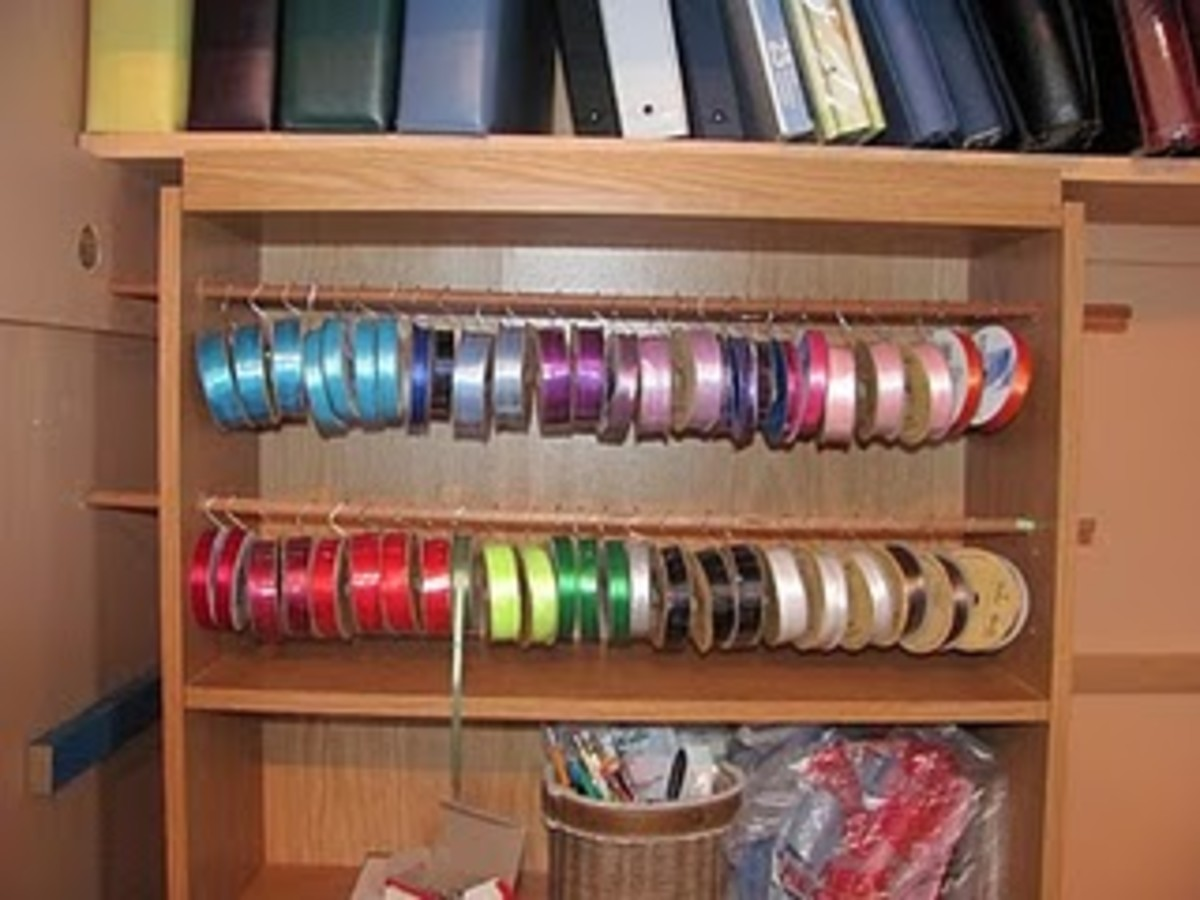 Edi designed a new ribbon organizer earlier this year to make it easier to remove the empty rolls.