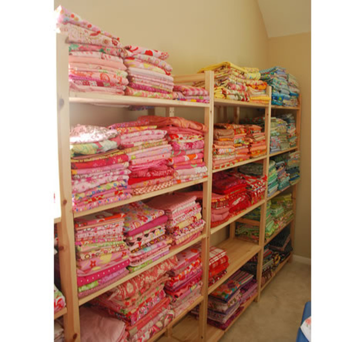 Wide Shelving Units Are Perfect For Storing Fabric.