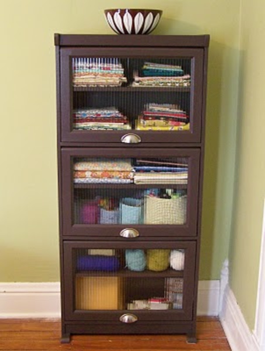 Amy stores a lot of her fabric quarters and shipping supplies in this little cabinet.