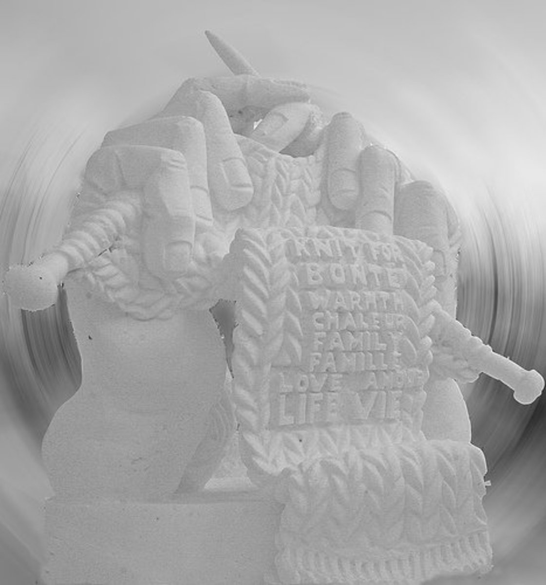 Knitting Hands Sculpture: the entry of the Alberta team won the People's Choice Award at Winterlude's National Snow Sculpture Competition in Ottawa.