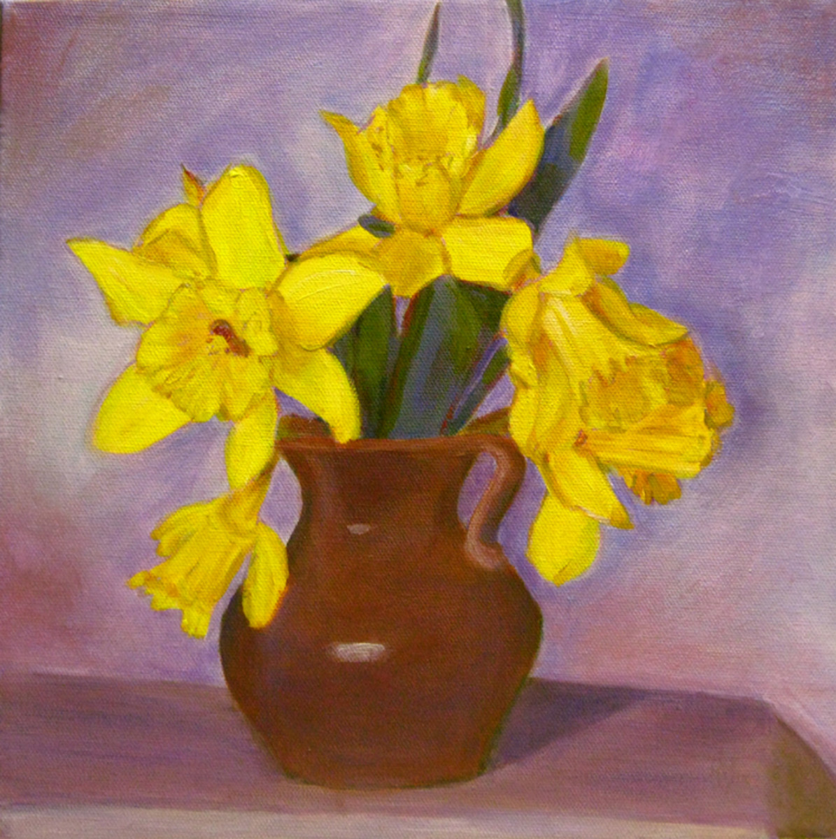 "In this painting  I wanted to explore the beauty of the spring flowers and the power of complementary colors, like yellow and violet. ""Daffodils"" acrylic painting by Robie Benve"