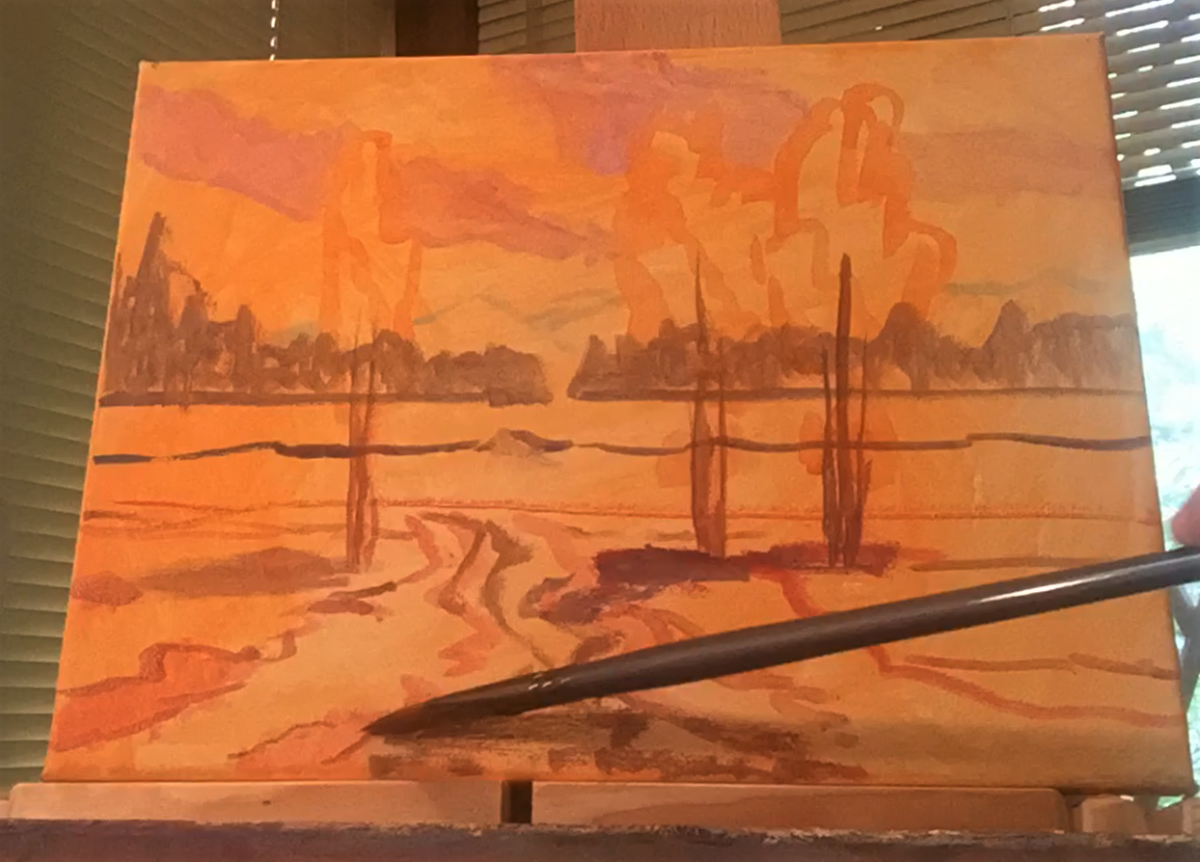 The beginning of an acrylic painting on a tinted canvas.
