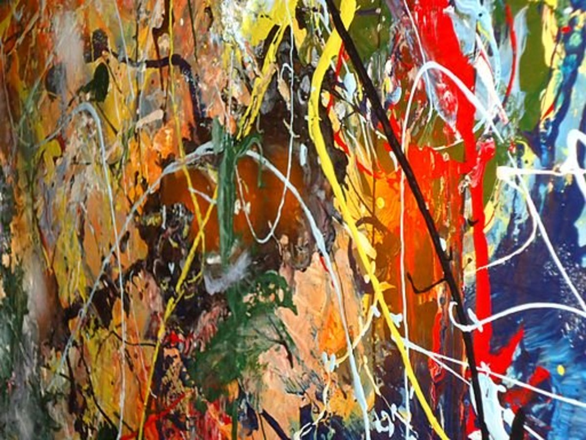 """A side view close-up of """"drip art"""" painting entitled 'Tornadoes at Sunset'. The right side is close to the camera so it is somewhat out of focus. The project involved unused paint (which could not be easily recycled)."""