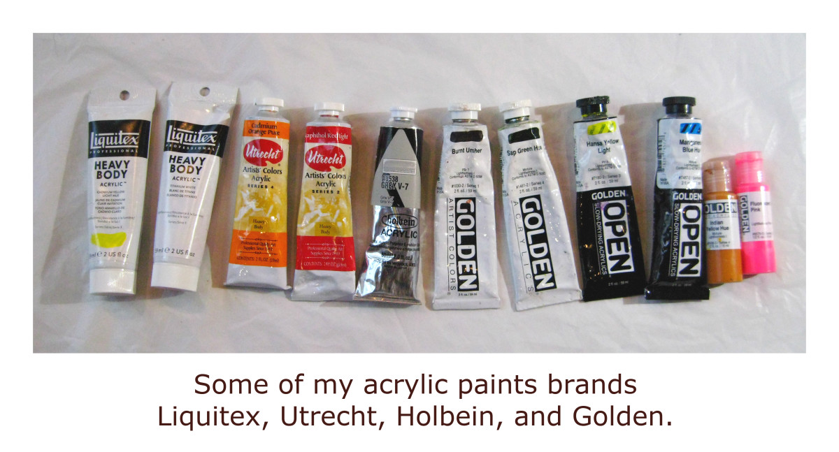 Some of the tubes of acrylic paint that I use on a regular basis.