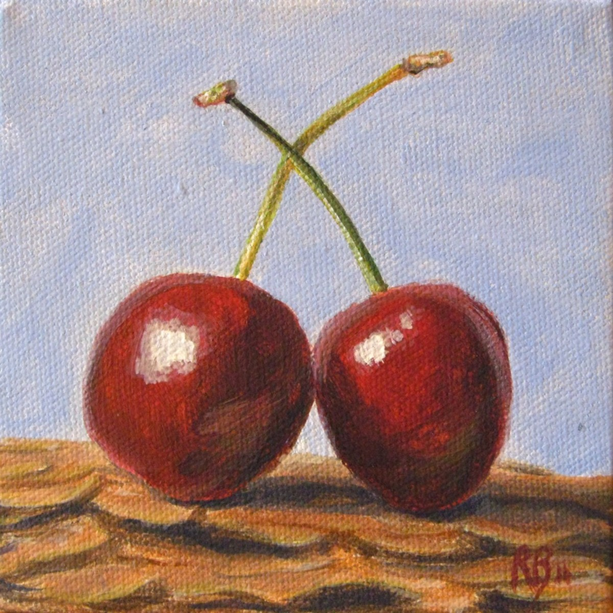 "It's ok if you don't like the outcome. This is one of the first of my acrylic paintings that I actually liked. ""Loving Cherries"". All rights reserved."