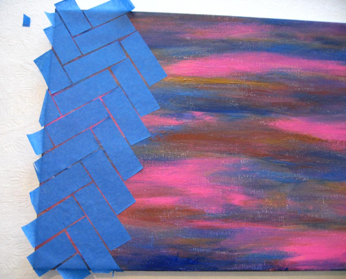 Using masking tape to create a pattern