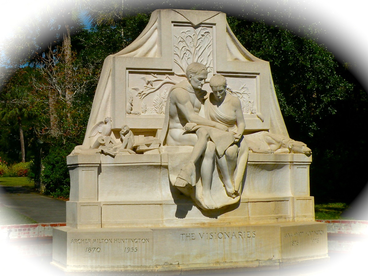 Anna's sculpture,The Visionaries, depicts Anna and Archer Huntington pouring over plans for Brookgreen Gardens.