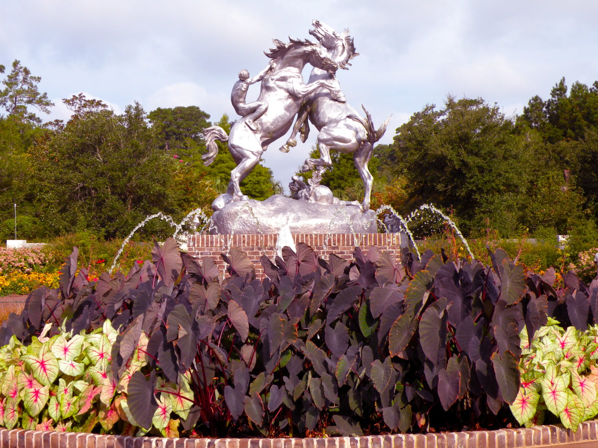 Fighting Stallions sculpture by Anna Hyatt Huntington stands at the entry to Brookgreen Gardens