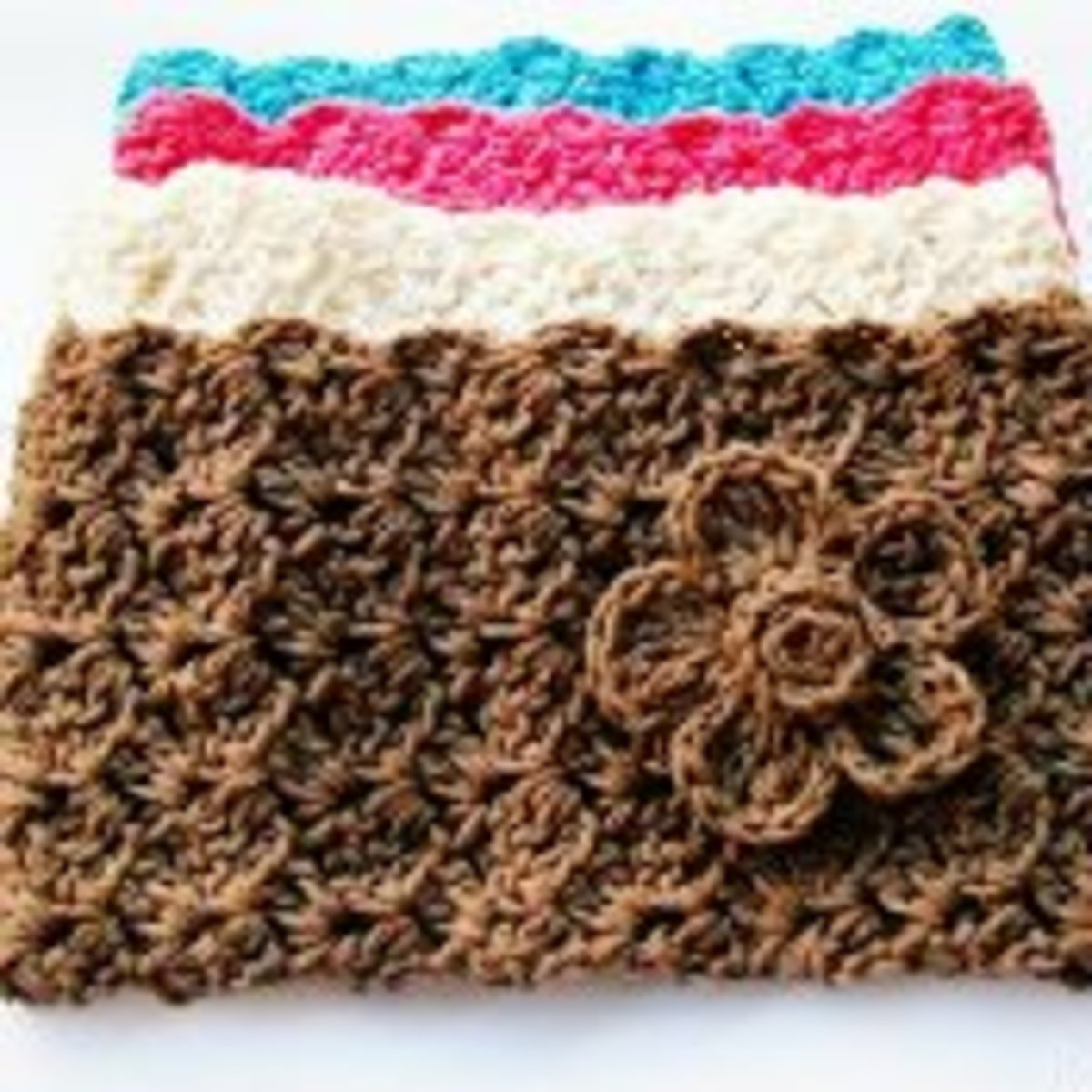 Crochet ear warmers.