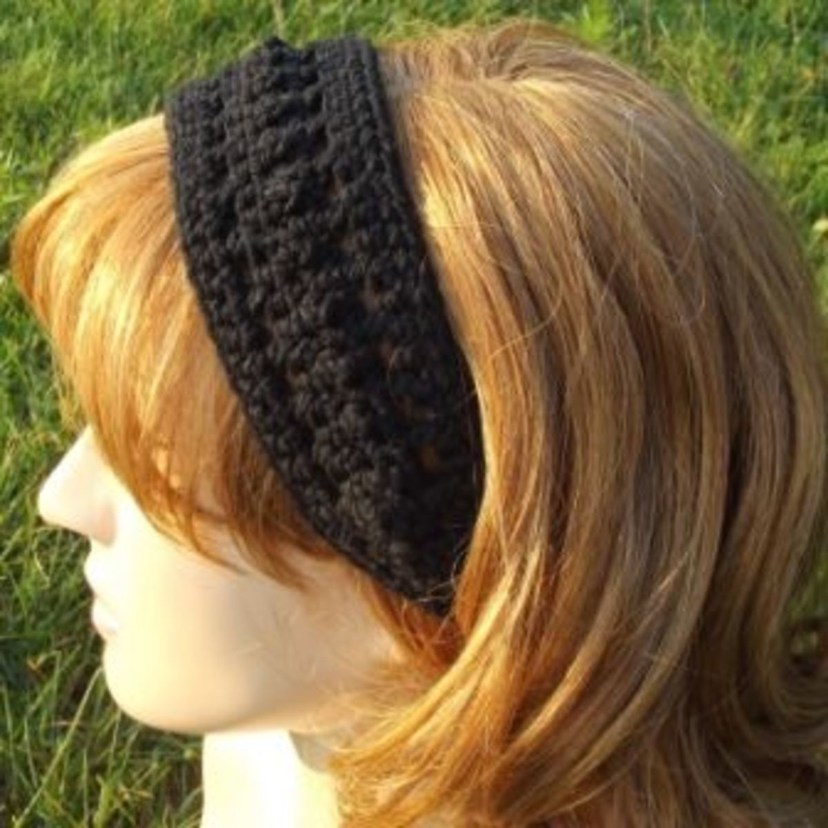 Crocheted black headband.