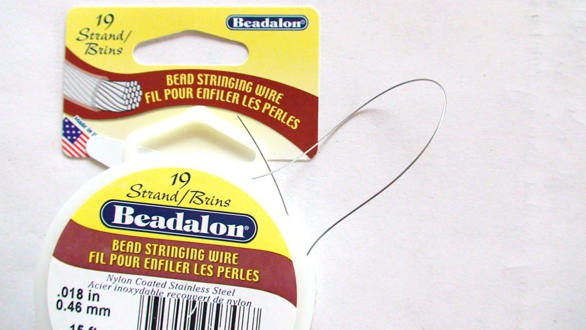 Flexible nylon-coated 19 strand beading wire.