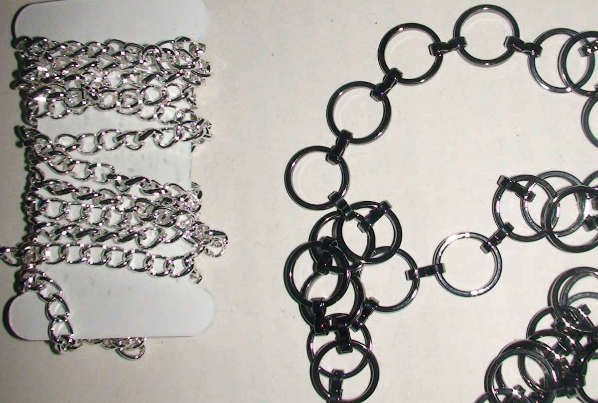 Silver small cable chain (left); gun-metal large round chain