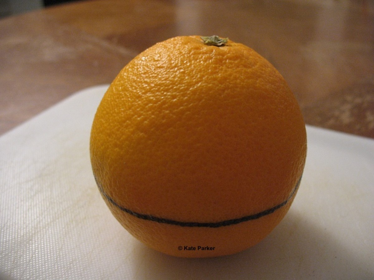 Mark a line around the circumference of the orange/citrus