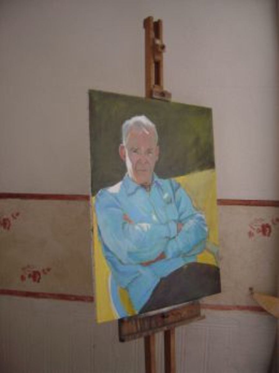 A canvas with wooden stretcher on the easel