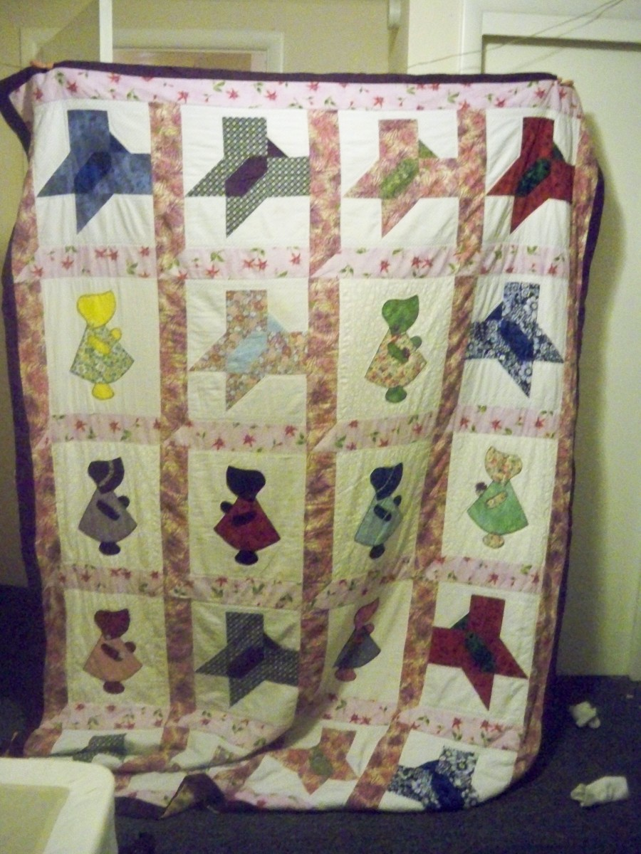 My granddaughter's Sunbonnet Sue and Butterfly quilt.  We did the window frame sashing on this quilt.  She made the butterfly blocks and I did the Sue blocks.  I also hand quilted this whole quilt at her request.