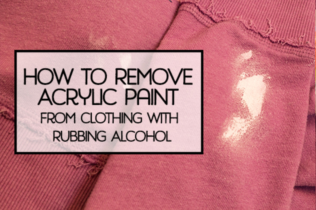 The steps to removing dried acrylic paint from clothing.