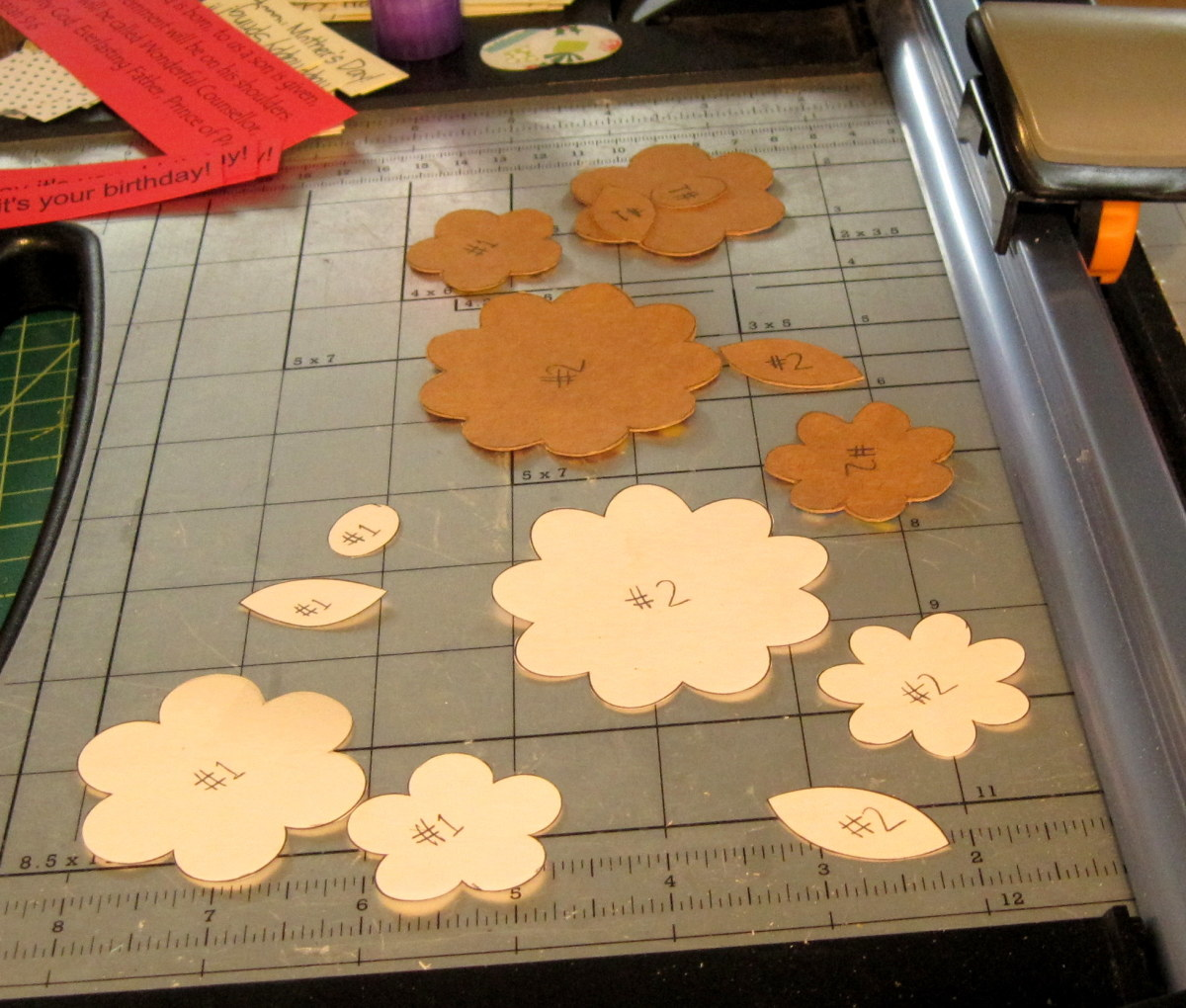 I labeled my two piece flowers with numbers so I would remember which pieces go together.