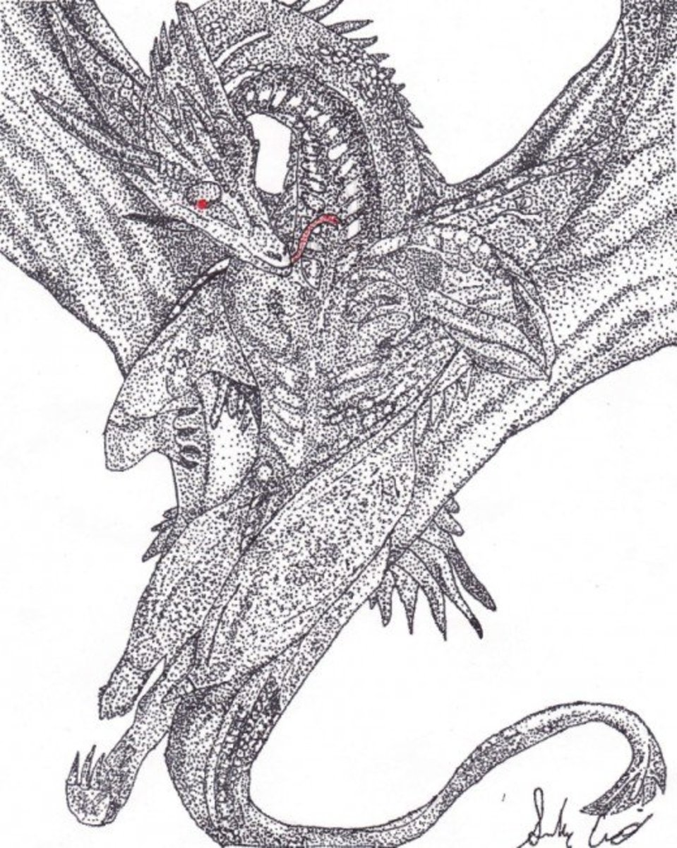 This is my latest pointillized piece, using mainly black with a tiny amount of red to bring out the eyes and tongue.
