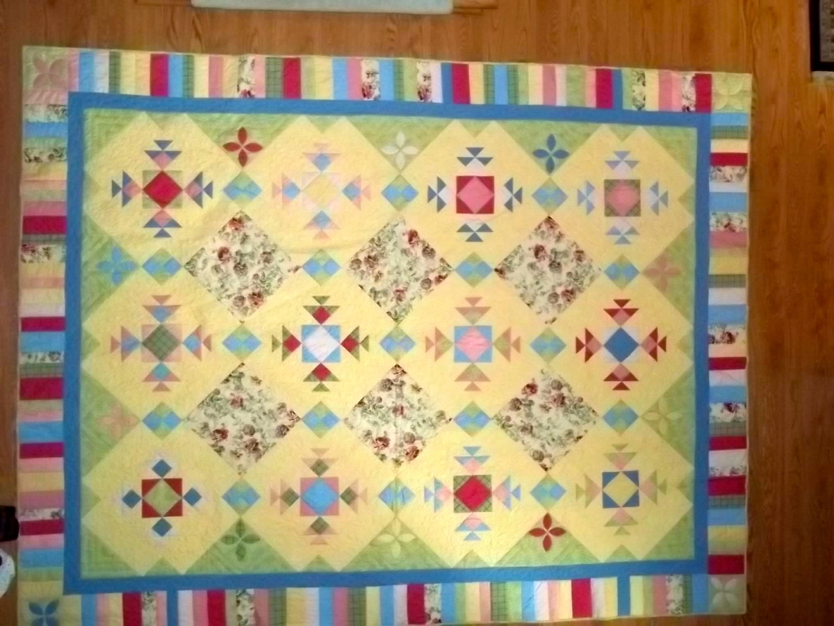 """Summer Breezes"", original design.  This quilt was professionally machine quilted."