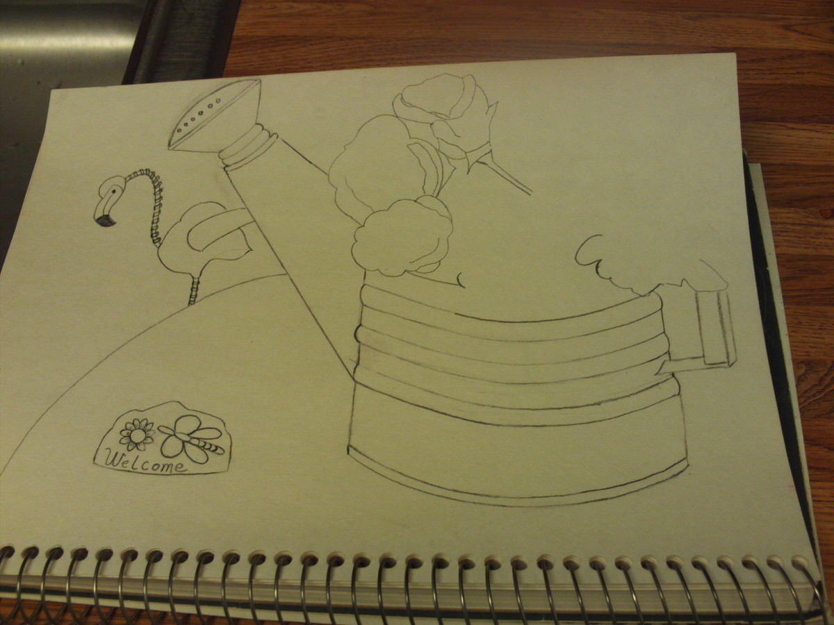 The beginning of my sketch of the roses in the watering can.