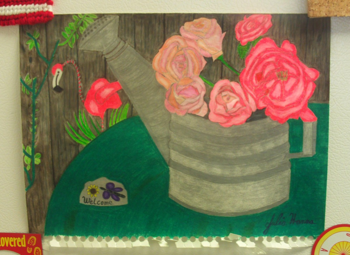 Here is completed sketch with the green table cloth shaded in.