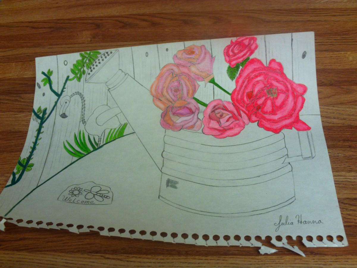 I am beginning to color in the rose bush behind the watering can, from which we can imagine the roses have been cut.