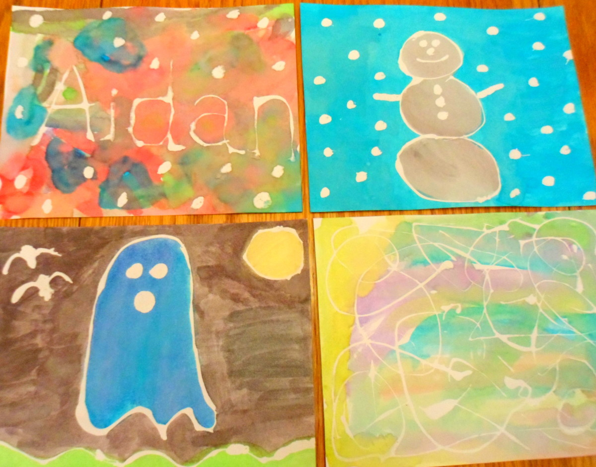 Our finished rubber cement art paintings.
