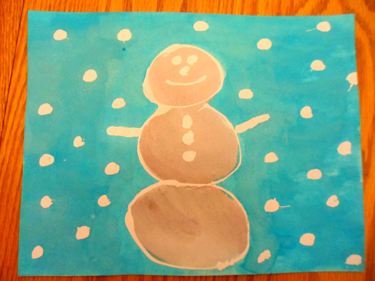 A fun winter scene painted by my oldest son.