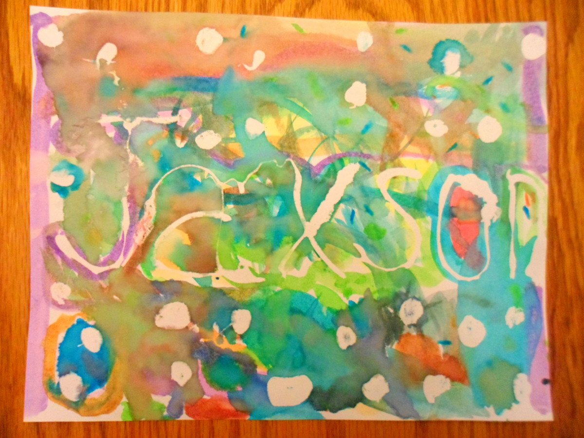Another colorful painting displaying my oldest son's name.