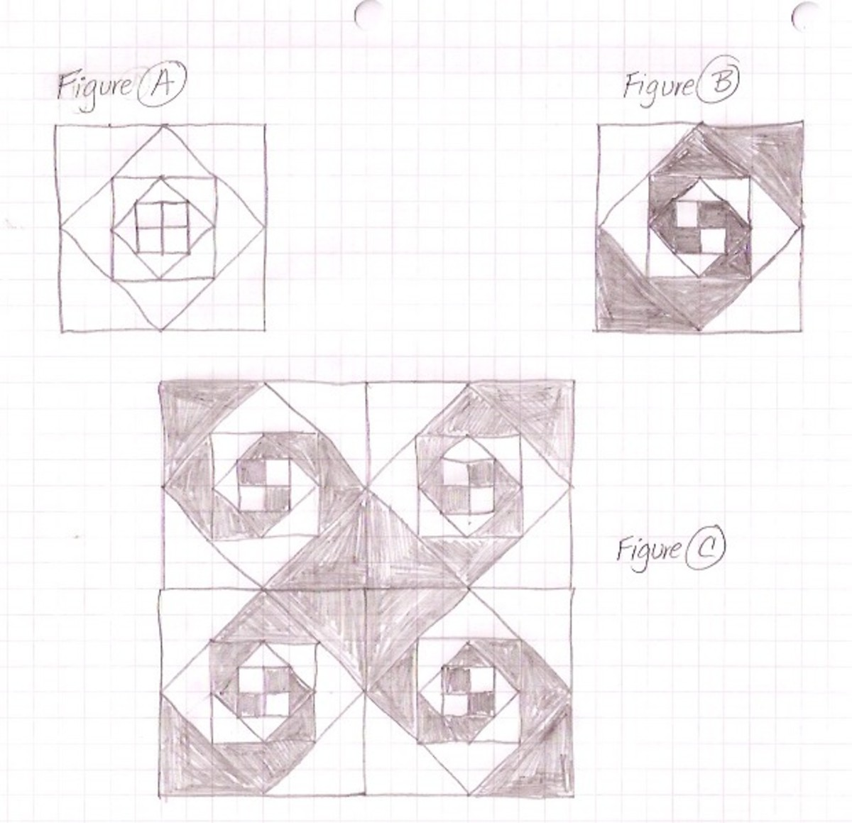 Sketches for the Snail's Trail tessellated design.