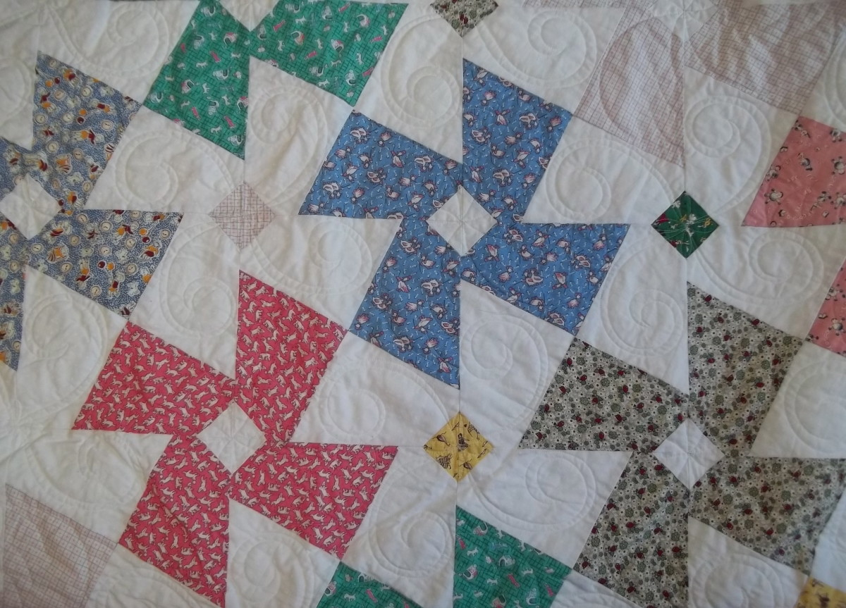 A Tessellation Quilt Design - Pinwheels and Daisies