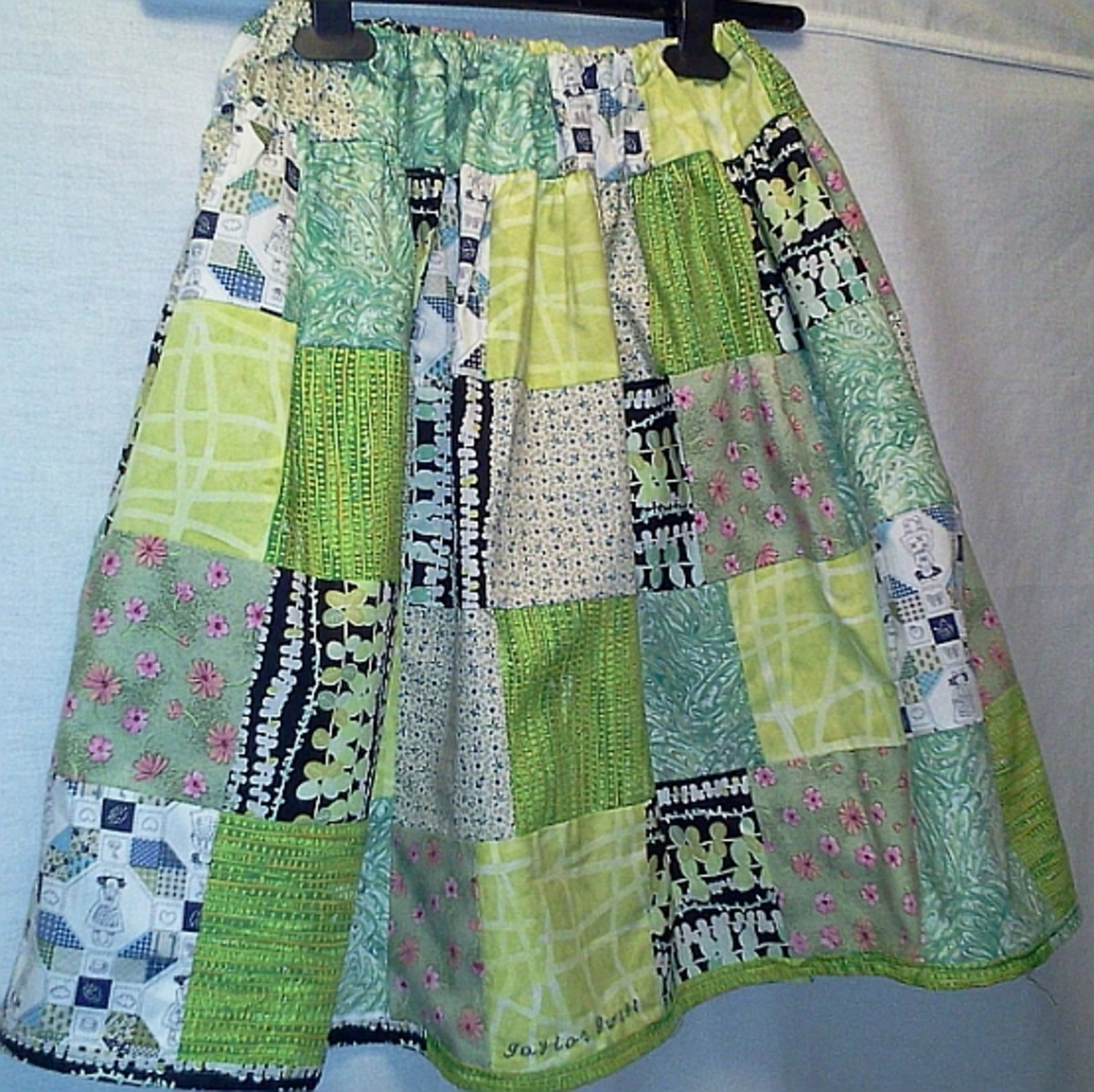 Skirt made from scraps.