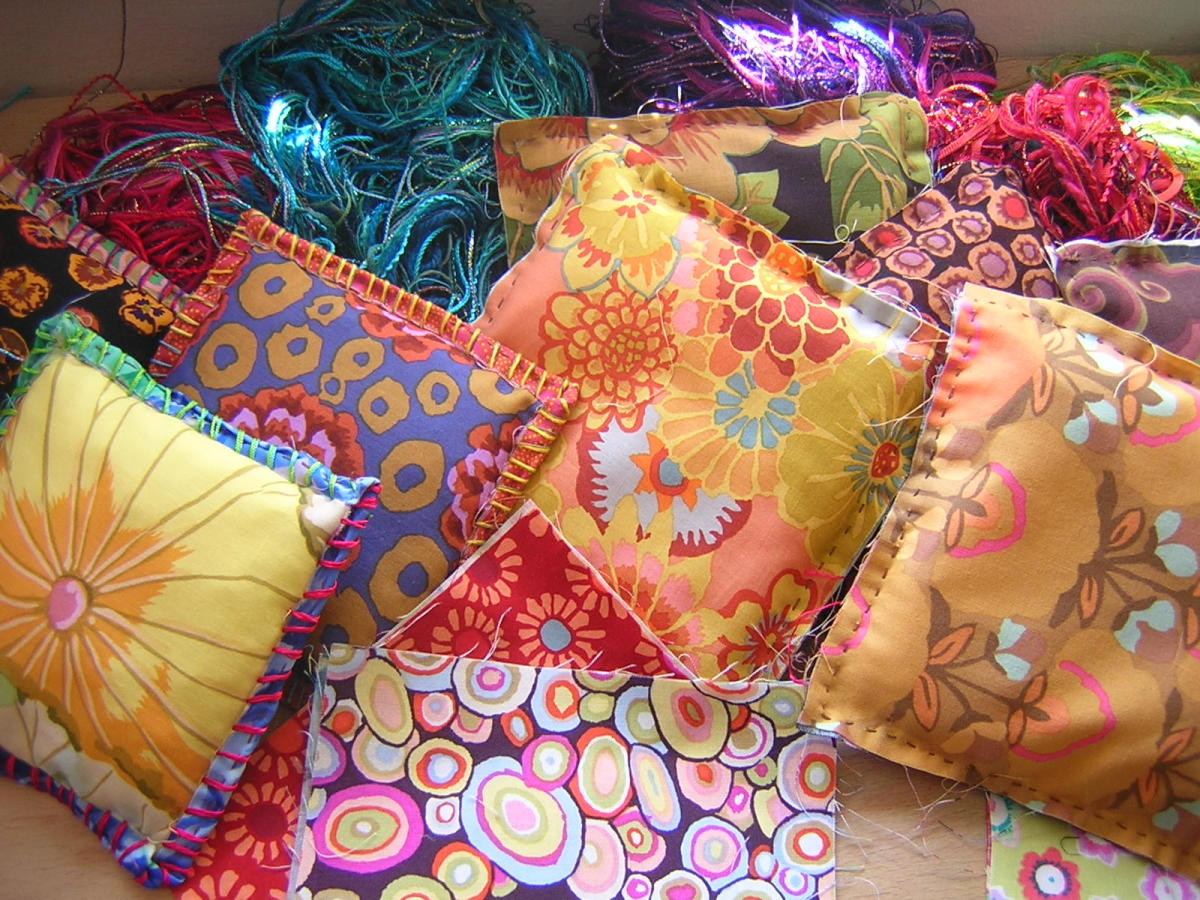 Fabric scrap mini pillows.