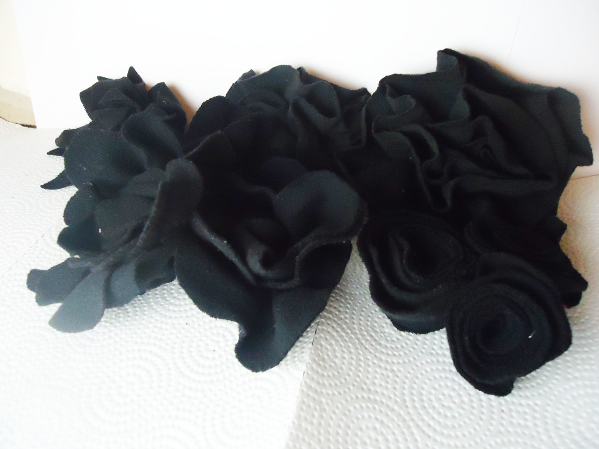 Black flowers made from 2 different black t-shirts
