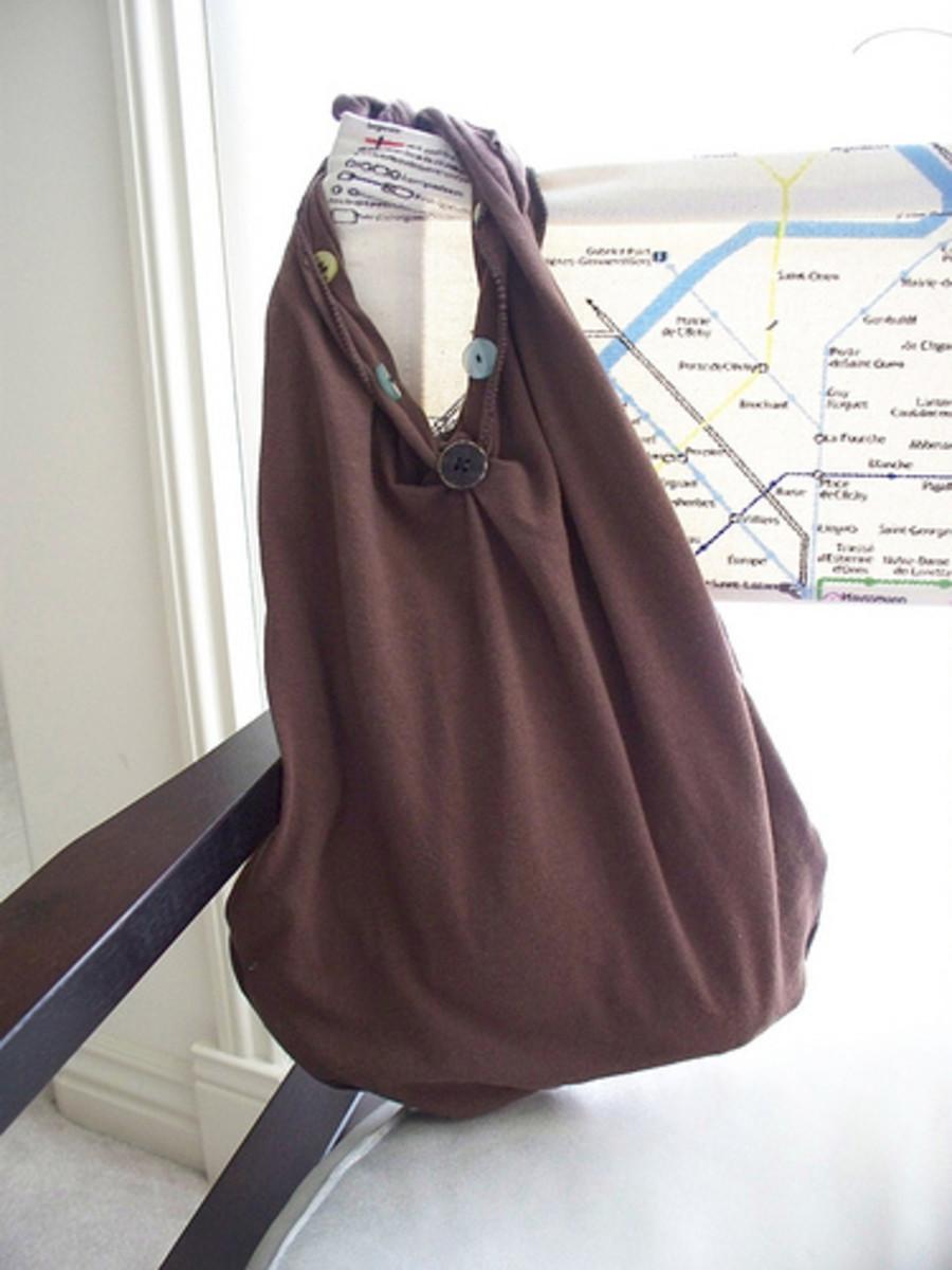 Upcycled t-shirt bag.
