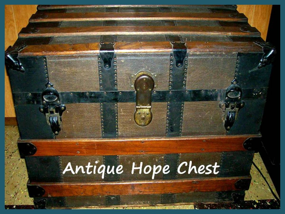 This chest is at least 125 years old.  It was handed down through generations on my mother's side.  It is in my father's basement and currently holds vintage Christmas decorations.  Source:  Sharyn's Slant