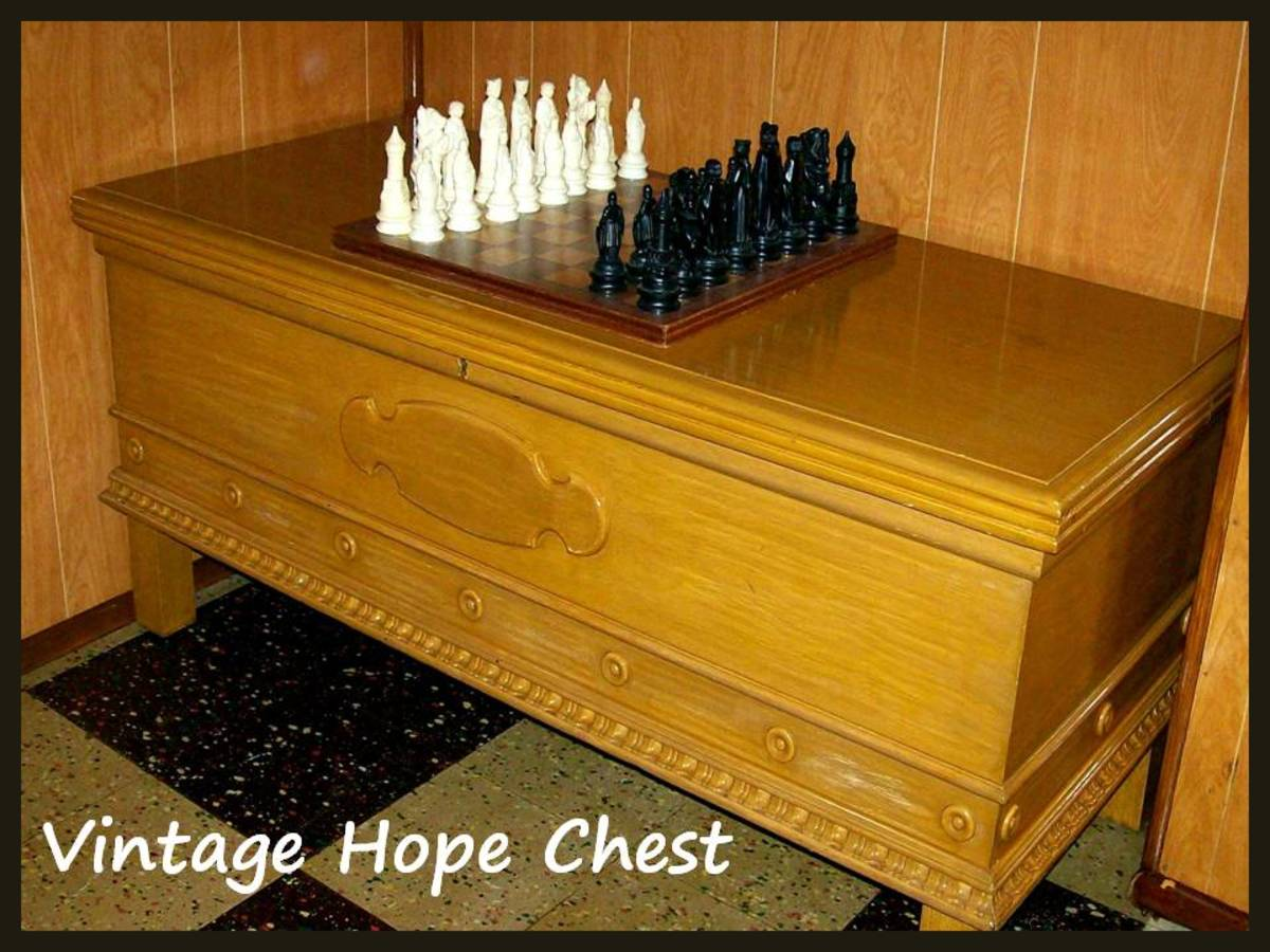 I don't know the history of this chest.  It's been around for at least 40 years.  It is in my father's basement filled with mostly photographs now.  Source:  Sharyn's Slant