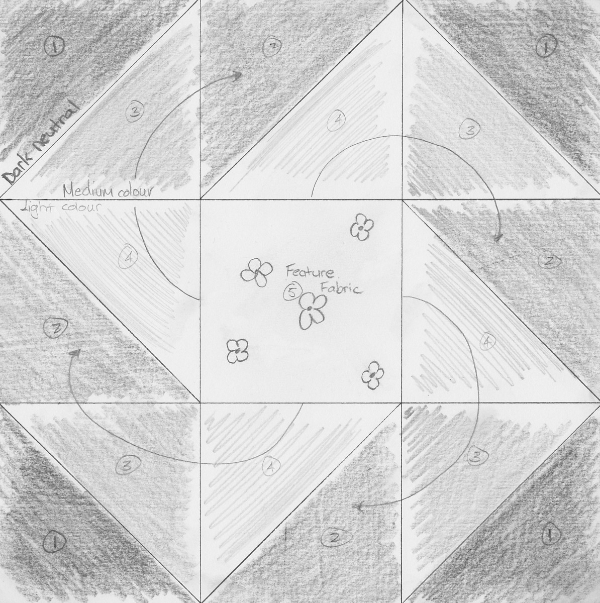 My quilt block design - grey-scale