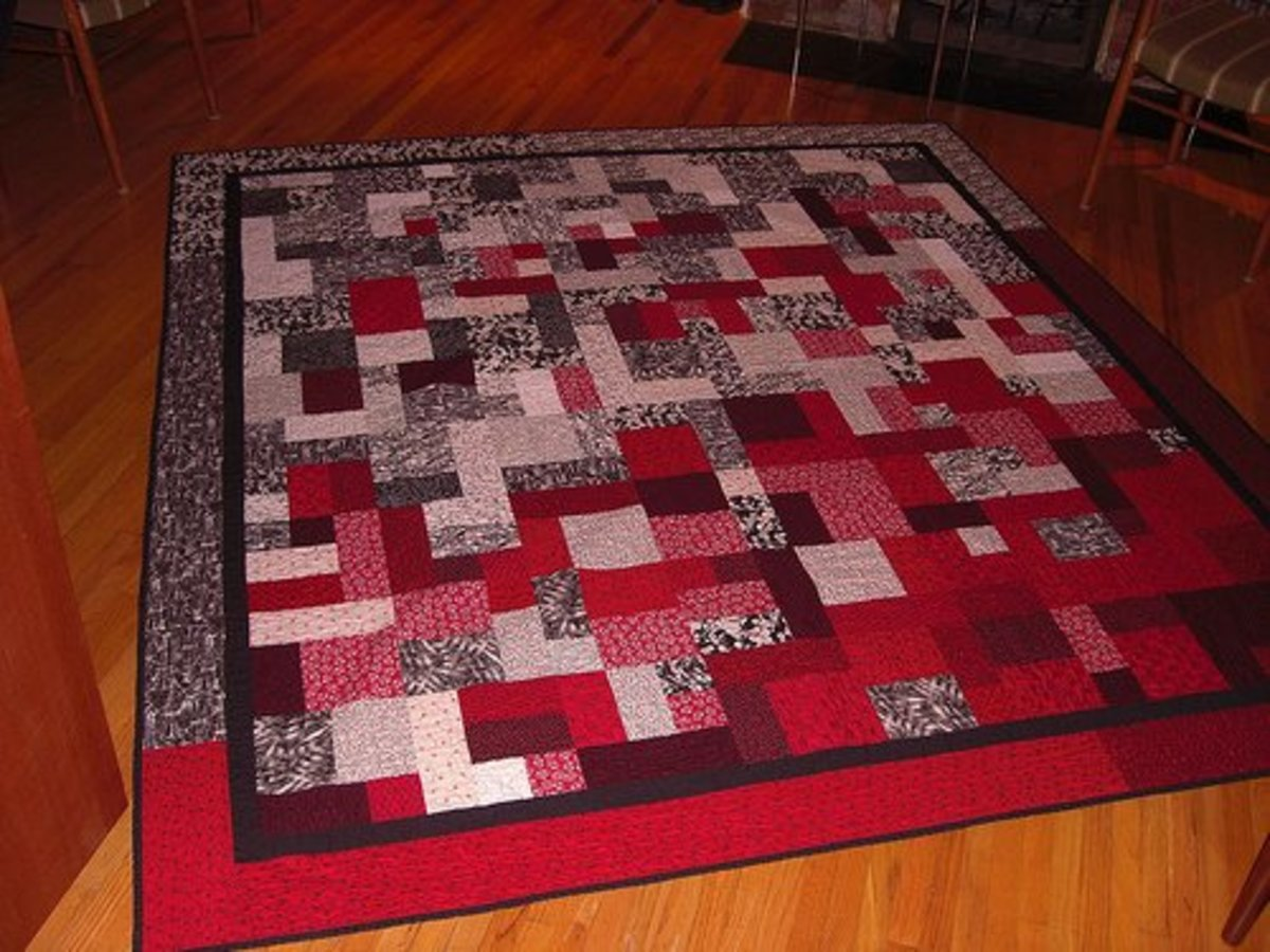 This yellow brick road quilt uses squares and rectangles. The focus is on the fabric, and there are few tricky intersections.