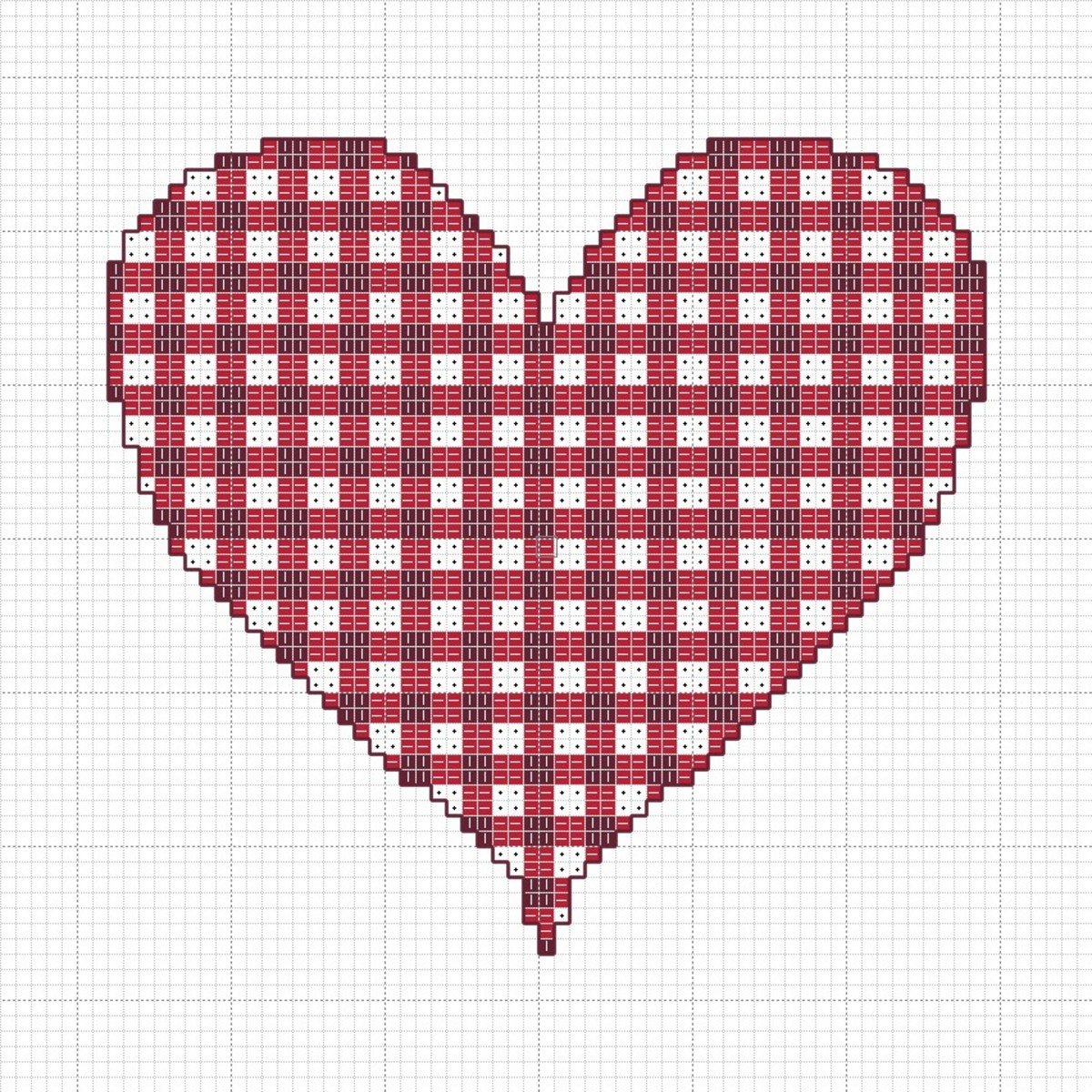 Gingham Valentin'es Heart Cross-Stitch Chart
