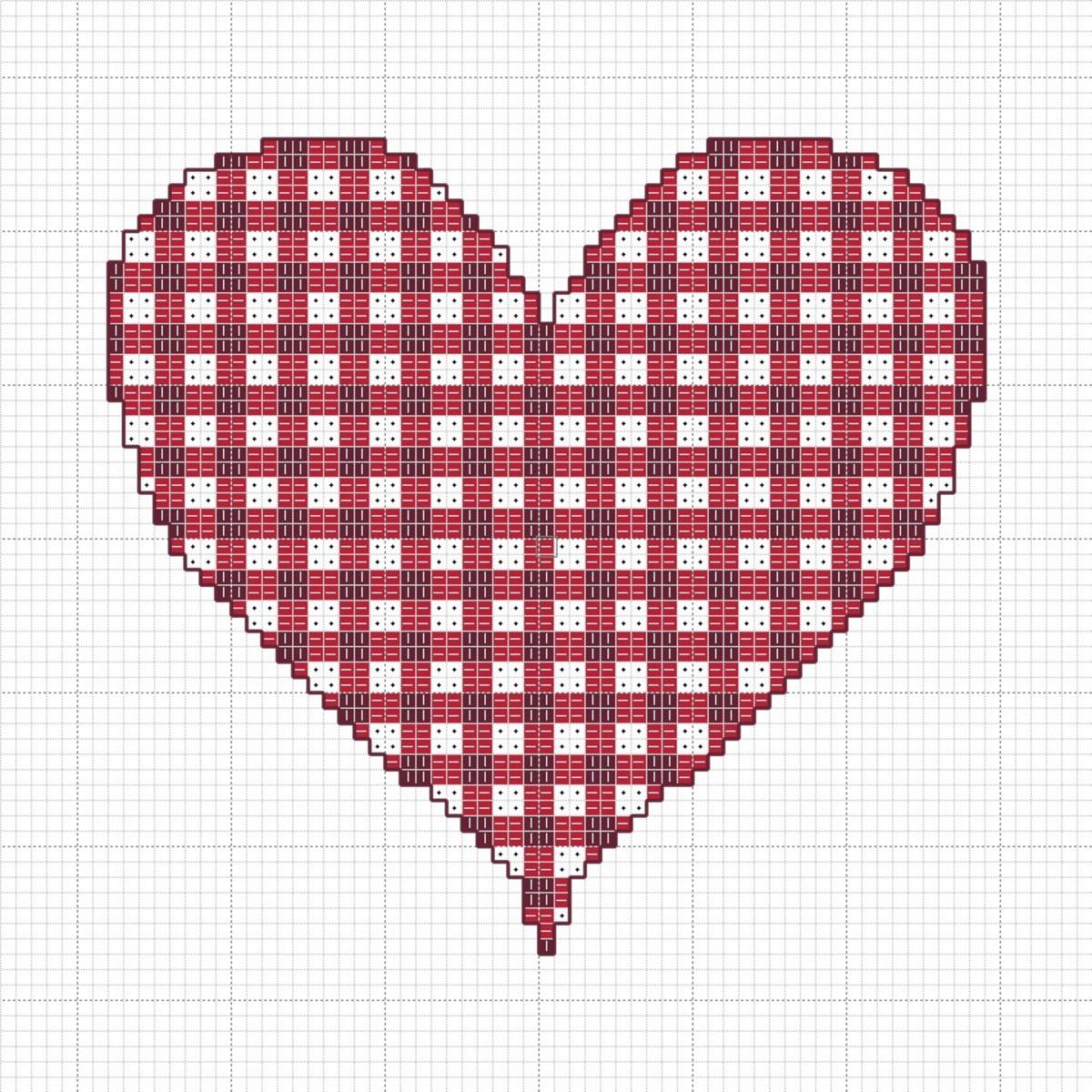 Gingham Valentine's Heart Cross-Stitch Chart