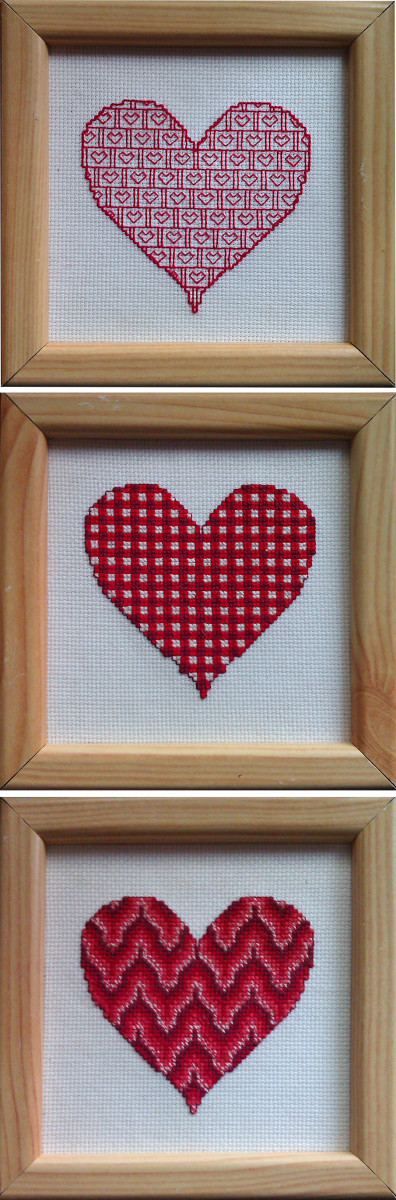 Set of three Valentine's Heart cross stitch patterns ~ free online