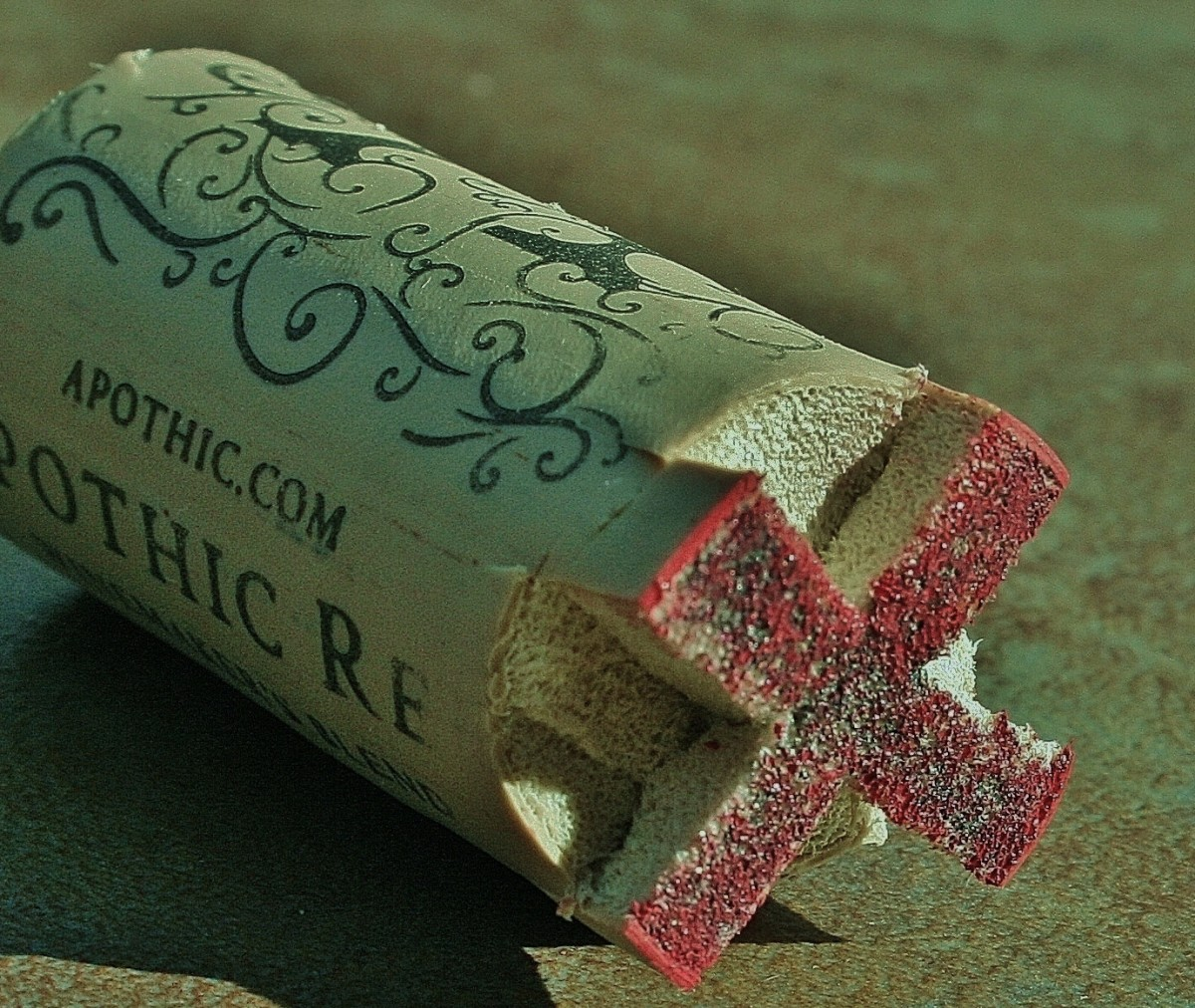 Just in case you're wondering, that red on the cork is paint, not blood.