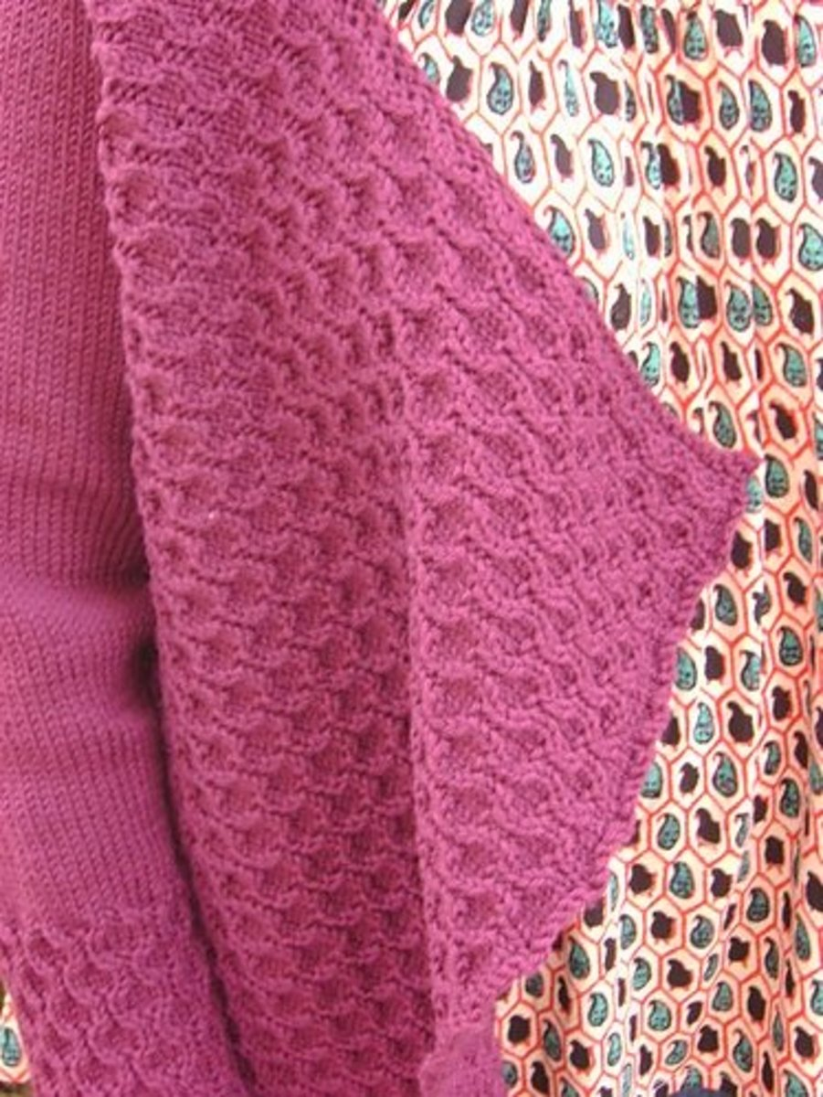 blocking just the edge of a cardigan